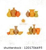 handmade ceramics clay pottery... | Shutterstock .eps vector #1201706695