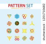 pattern icon set. hexagon... | Shutterstock .eps vector #1201710682
