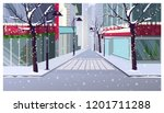 winter landscape with houses ... | Shutterstock .eps vector #1201711288