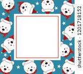 white bear santa claus with red ... | Shutterstock .eps vector #1201718152