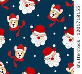 santa claus and corgi with red... | Shutterstock .eps vector #1201718155