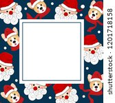santa claus and corgi with red... | Shutterstock .eps vector #1201718158