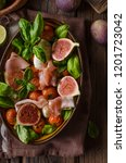 herby salad  fresh figs  baked... | Shutterstock . vector #1201723042