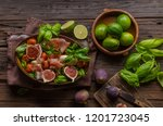 herby salad  fresh figs  baked... | Shutterstock . vector #1201723045