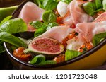 herby salad  fresh figs  baked... | Shutterstock . vector #1201723048