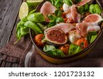 herby salad  fresh figs  baked... | Shutterstock . vector #1201723132