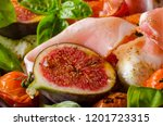 herby salad  fresh figs  baked... | Shutterstock . vector #1201723315