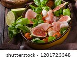 herby salad  fresh figs  baked... | Shutterstock . vector #1201723348