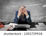 portrait of desperate... | Shutterstock . vector #1201729918