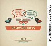 christmas retro label with birds | Shutterstock .eps vector #120173818