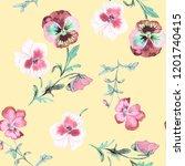 wild pansy watercolor... | Shutterstock . vector #1201740415
