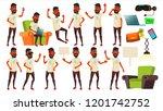 teen boy poses set vector.... | Shutterstock .eps vector #1201742752