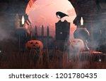 scene of halloween decoration... | Shutterstock . vector #1201780435