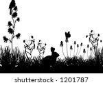 vector art depicting a meadow... | Shutterstock .eps vector #1201787