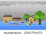 flood natural disaster with...