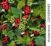 christmas and winter holly ivy...   Shutterstock . vector #1201808485