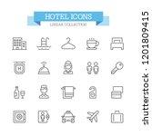 hotel line icons. | Shutterstock .eps vector #1201809415
