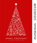 merry christmas and happy new... | Shutterstock . vector #1201822108