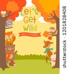 cute woodland cartoon animals... | Shutterstock .eps vector #1201828408