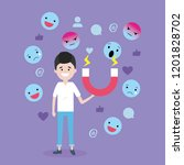 man with magnet and emoji media ... | Shutterstock .eps vector #1201828702