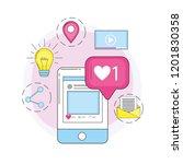 smartphone social media and... | Shutterstock .eps vector #1201830358