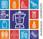set of 13 food outline icons... | Shutterstock .eps vector #1201831252