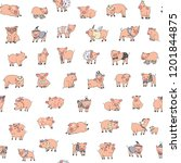 seamless pattern with pig ... | Shutterstock .eps vector #1201844875