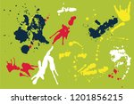 hand drawn set of colorful ink...   Shutterstock .eps vector #1201856215