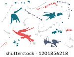 hand drawn set of colorful ink...   Shutterstock .eps vector #1201856218