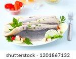 Stock photo salty herring fillet 1201867132
