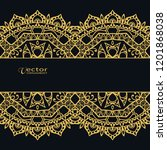 golden lace border on black... | Shutterstock .eps vector #1201868038