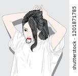 this girl is tied her hair and... | Shutterstock .eps vector #1201871785