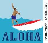 men in blue shorts surfs on the ... | Shutterstock .eps vector #1201880608