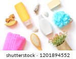 flat lay organic bath products. ... | Shutterstock . vector #1201894552