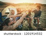 happy young friends enjoy a... | Shutterstock . vector #1201914532