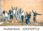 happy friends millennials... | Shutterstock . vector #1201929712