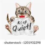 cute cat holding keep quiet... | Shutterstock .eps vector #1201932298