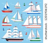 sail boat. transportation... | Shutterstock .eps vector #1201936192