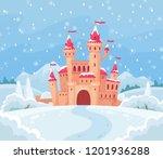 fairy tales winter castle.... | Shutterstock .eps vector #1201936288