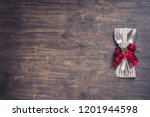 christmas dinner table setting... | Shutterstock . vector #1201944598