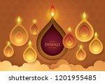 happy diwali festival with oil...   Shutterstock .eps vector #1201955485