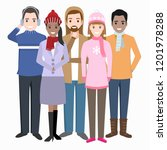 group of people with winter... | Shutterstock .eps vector #1201978288