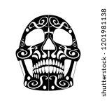 day of the dead skull icon ... | Shutterstock .eps vector #1201981138