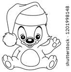 outlined christmas teddy bear...   Shutterstock .eps vector #1201998148