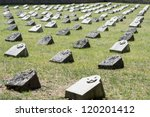 old graveyard in slovenia in memorial to soldiers who died in world war one. - stock photo