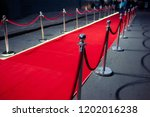 long red carpet between rope... | Shutterstock . vector #1202016238