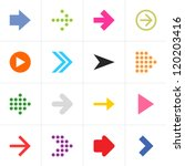 16 arrow pictogram set. Simple sign color web icon on white background. Modern contemporary solid plain flat mono minimal style. This vector illustration design elements saved in 8 eps | Shutterstock vector #120203416