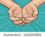 cupped hands  folded arms. pop... | Shutterstock .eps vector #1202052802