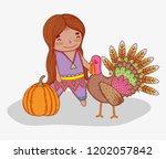 man indigenous with turkey...   Shutterstock .eps vector #1202057842