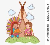 man and woman indigenous with...   Shutterstock .eps vector #1202057875